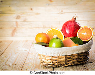 Basket of delicious assorted fresh fruit