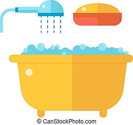 Beautiful bath with shower and soap cartoon flat vector illustration.