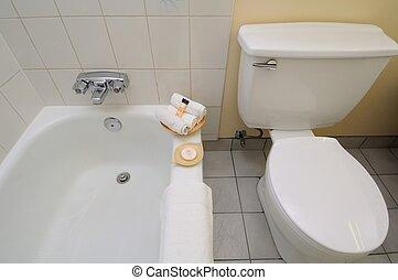 Bathroom area in hotel