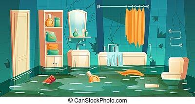 Bathroom flooded interior cartoon insurance