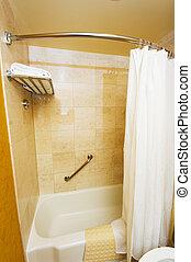 Bathroom interior - Bathtub and white curtain