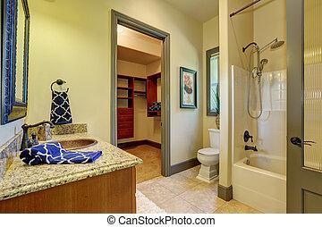 Bathroom interior in olive tones with walk-in closet.