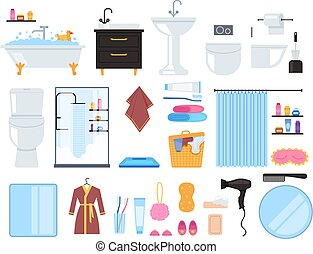 Bathroom washroom toilet elements isolated set. Vector flat graphic design cartoon illustration