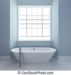 bathroom with tub and windows