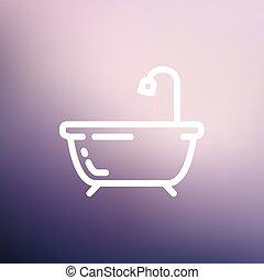 Bathtub thin line icon