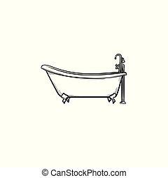 Bathtub with tap hand drawn sketch icon.