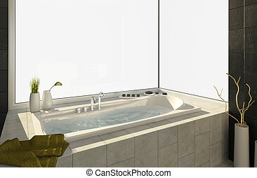Modern bathtub with big window isolated to fit your own background view, This image contains clipping path for exact isolation from the background.