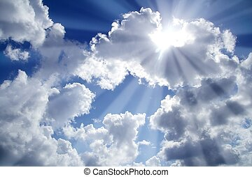 beams of light sky blue with white clouds cloudscape