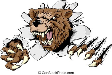 A scary Bear ripping through the background with sharp claws