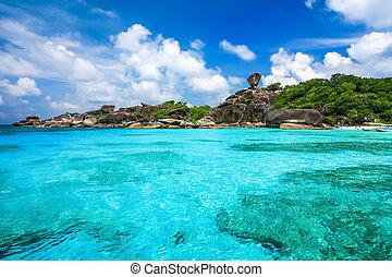 Beautiful beach and crystal clear sea at tropical island, Similan island, Andaman sea, Thailand