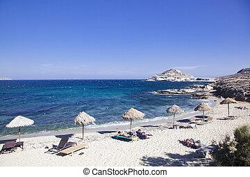 beautiful beach in Mykonos Greece