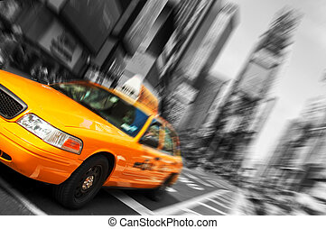 Beautiful Black and White New York City, Times Square Yellow Taxi, Motion Blur. All logo and trademarks are blurred out.