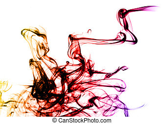 Beautiful colored Smoke abstract over white