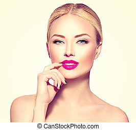 Beautiful fashion model girl with blond hair