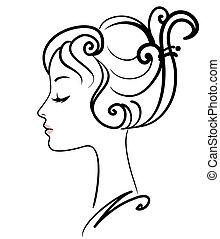 beautiful girl face vector illustration