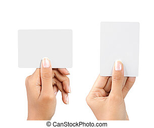 beautiful hand holding blank business card