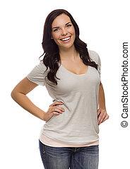 Beautiful Mixed Race Female Isolated On White Background