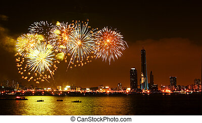 Beautiful night view of the Han River in Seoul International Fireworks Festival