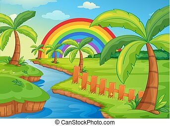 Beautiful River Landscape with Rainbow