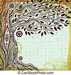 Beautiful vintage hand drawn tree of life