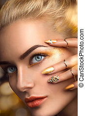 Beauty blonde model sexy girl with perfect golden makeup