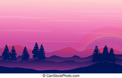 Beauty landscape spruce with rainbow silhouettes