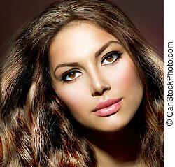 Beauty Model Girl. Healthy and Shiny Hair