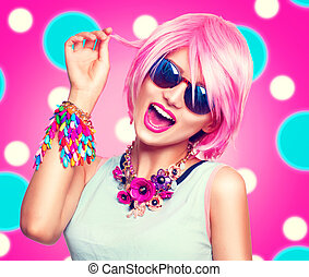 Beauty teenage model girl with pink hair, fashion colorful accessories and sunglasses