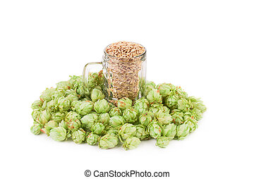Beer goblet with hop.