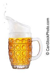 beer in mug with foam