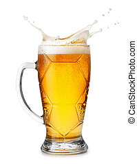 beer with splashes foam