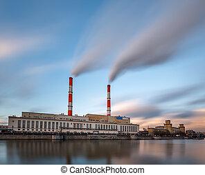 Berezhkovskaya Embankment and Power Plant in Moscow, Russia