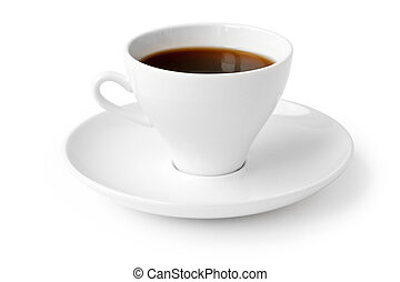 beverage. cup of black coffee isolated on white