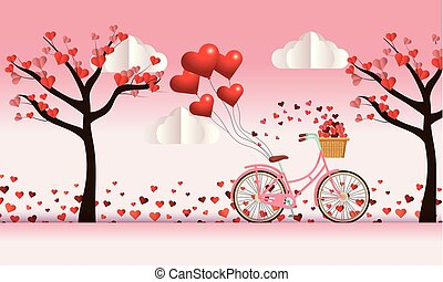 bicycle and trees with hearts flowers decoration to valentine day