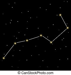 Big dipper star constellation isolated on black background.