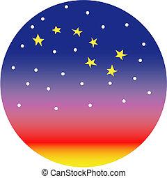 Big dipper star constellation or sunset clip art