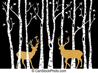 Birch trees with gold Christmas deer, vector