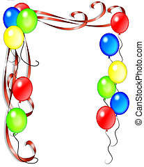 Balloons and ribbons illustration for invitation, background, card or stationery with copy space