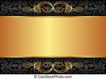 black and gold background with ornaments
