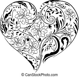 Black and white plants and flowers in heart shape