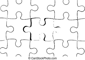 Black color outline of jigsaw puzzle on white background (Vector)