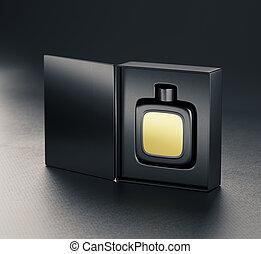 Black fragrance perfume bottle mockup