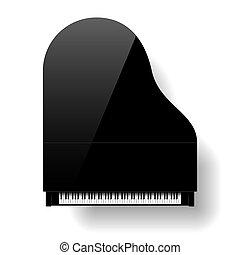 Black grand piano top view
