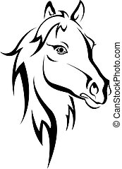 Black horse silhouette isolated on white for design