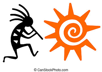 Black Kokopelli and orange sun
