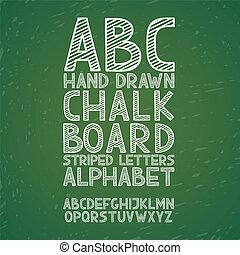 Blackboard chalkboard Chalk hand draw doodle abc, alphabet grunge scratch type font vector illustration.
