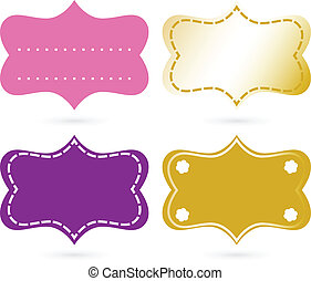 Blank ornamental tags set isolated on white