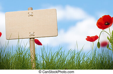 blank wooden sign and green grass with poppies flowers, blue sky and blurred clouds, room for text