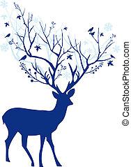 Blue Christmas deer, vector