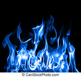 Beautiful stop-motion photo of blue flames